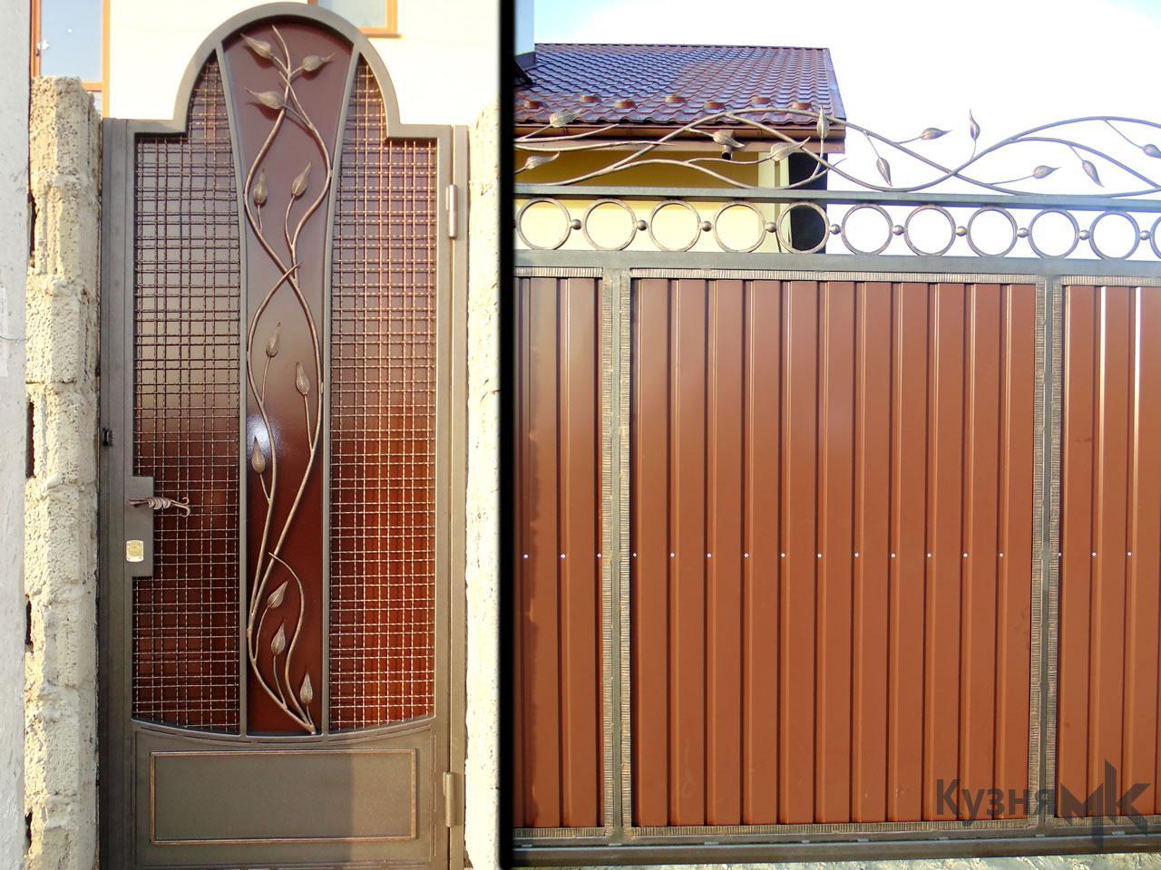 Відкатні ворота з профнастилу та ковки