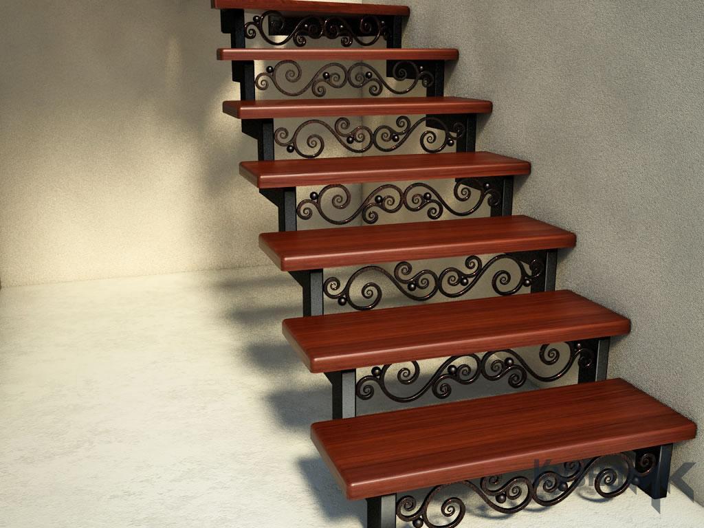 Візуалізація сходів з кованими вставками